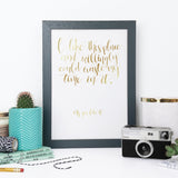 Gold Foil Shakespeare 'I Like This Place' Calligraphy Print