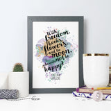 'With freedom, books, flowers, and the moon, who could not be happy?' Watercolour Oscar Wilde Framed Print