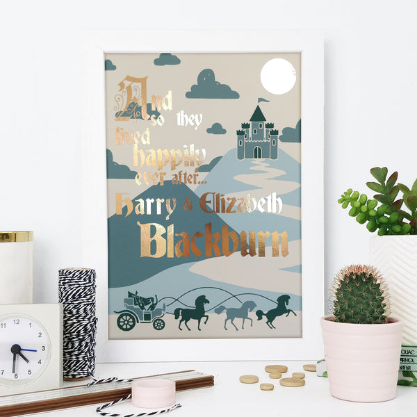"Personalised ""They Lived Happily Ever After"" Wedding Print"