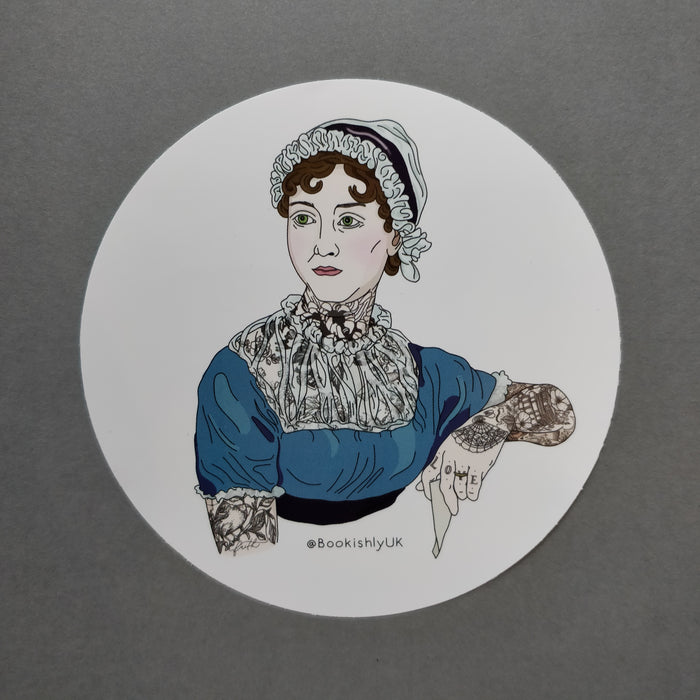 Jane Austen with Tattoos Vinyl Laptop Sticker