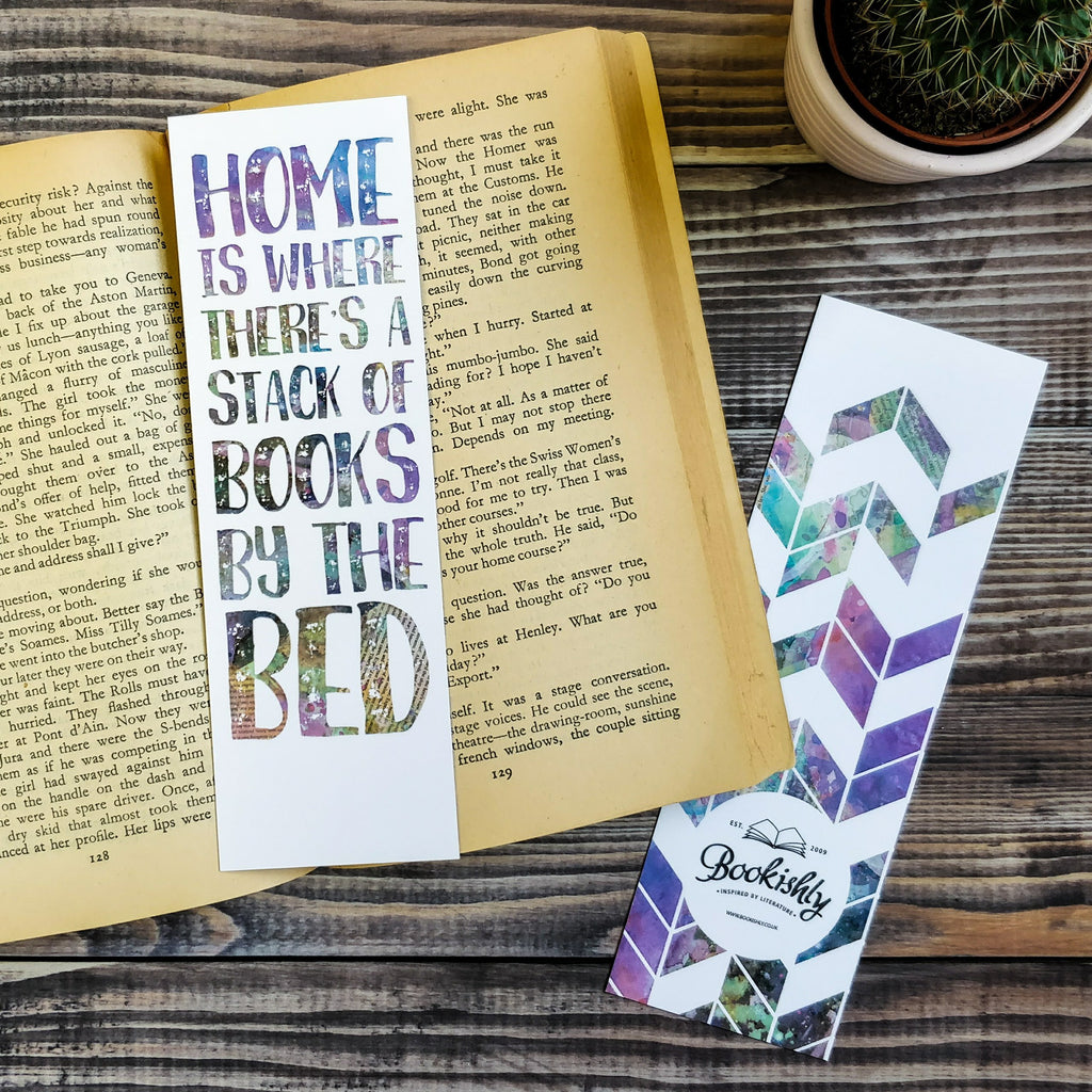"""Home is where there's a stack of books by the bed"" Bookmark Gifts for Book Lovers"