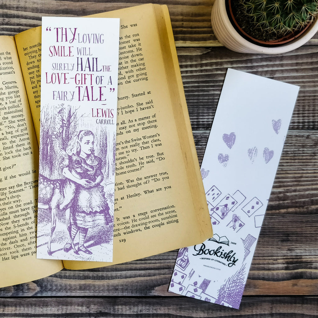 Alice in Wonderland 'Thy Loving Smile...' Purple Illustration Bookmark