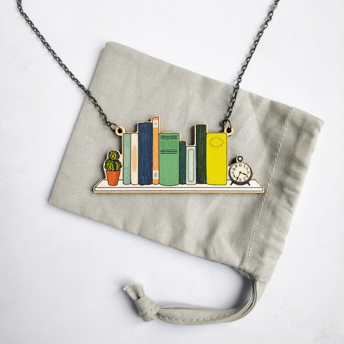 Bookshelf Statement Necklace Literary Jewellery
