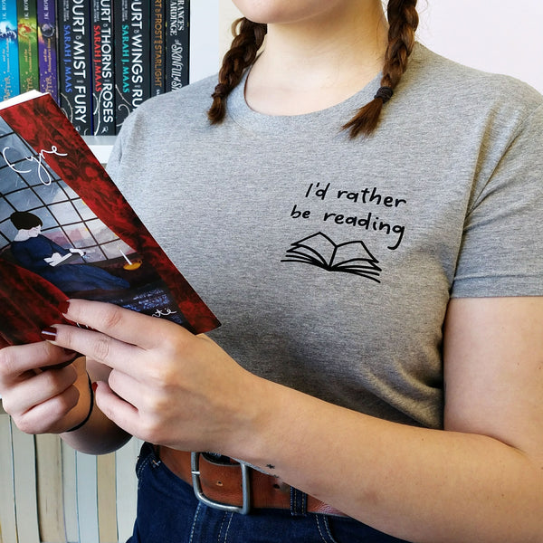 "Grey ""I'd Rather Be Reading"" Relatable Literary T Shirt"