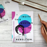 Writing Journal 'I Incite This Meeting To Rebellion' Suffragette Notebook