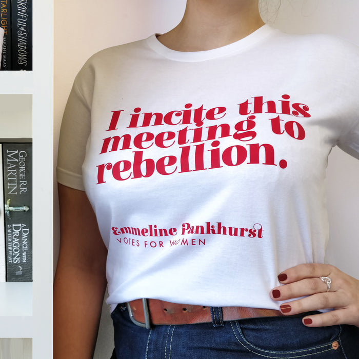 Feminist T Shirt 'I Incite This Meeting To Rebellion' in Red and White