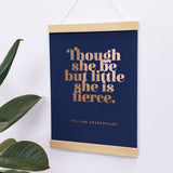 "Girl's Nursery ""Though She Be But Little, She Is Fierce"" Red Over Pink Art Poster"