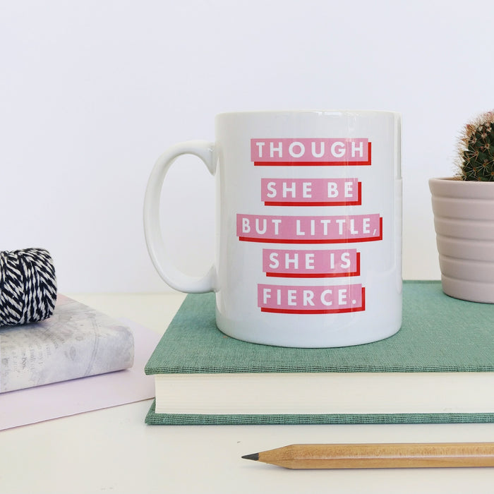 """Fierce"" Red & Pink Feminist Quote Mug"