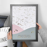 Personalised Scandi Landscape Star Map Print - Blush & Grey