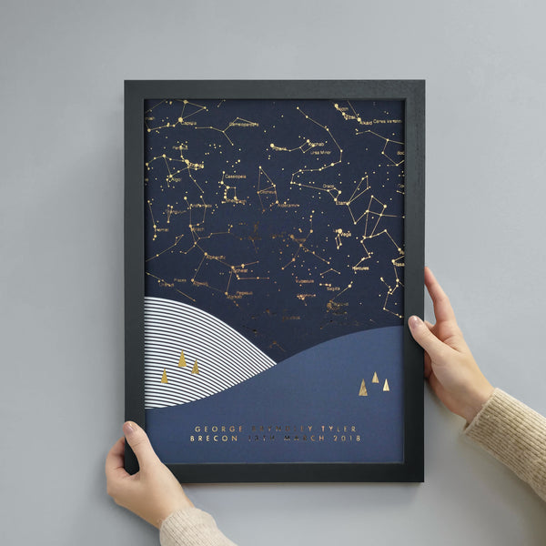 Personalised Scandi Landscape Star Map Print - Navy & Gold