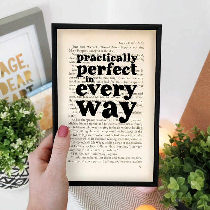 "Mary Poppins Print ""Practically Perfect In Every Way"" Gifts Book Page Art"