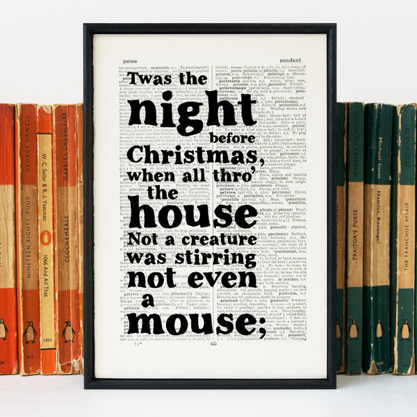 """Twas the night before Christmas"" Book Lover Quote - Framed Book Page Print"