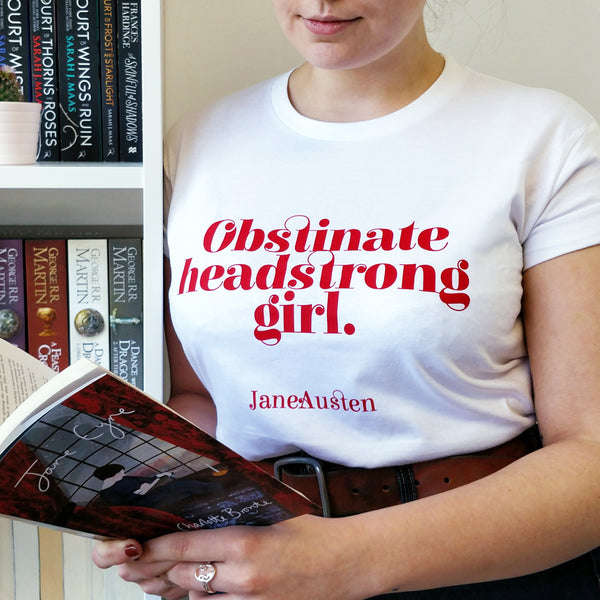 Feminist T Shirt 'Obstinate headstrong girl' in Red and White
