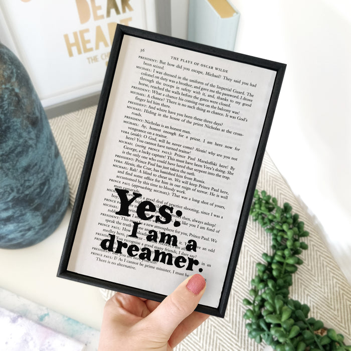 "Oscar Wilde Quotes ""Yes: I Am A Dreamer"" Framed Book Page Art"