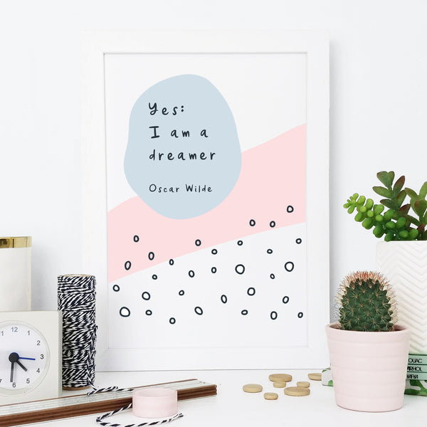"Oscar Wilde Quote ""Dreamer"" Mid-Century Art Print"