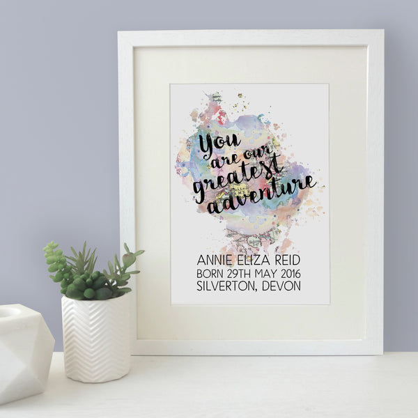 Personalised New Baby 'You Are Our Greatest Adventure' Watercolour Quote Print