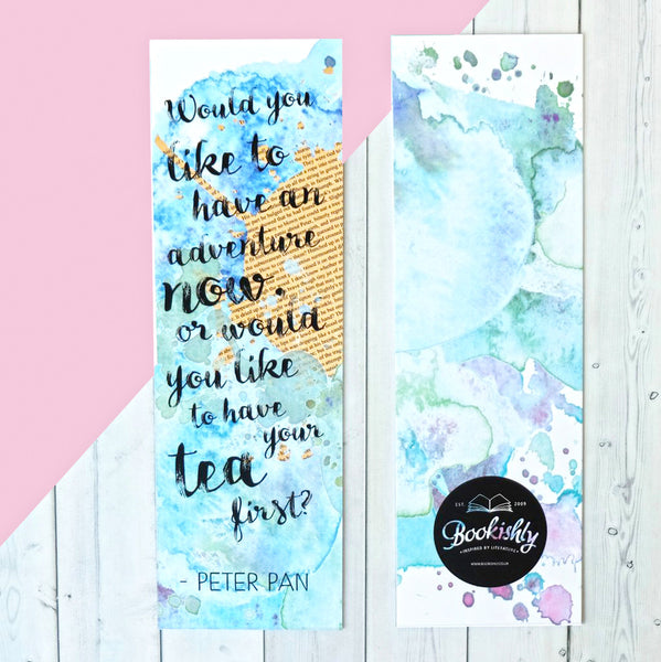 Peter Pan 'Adventure or Tea' Quote Bookmark