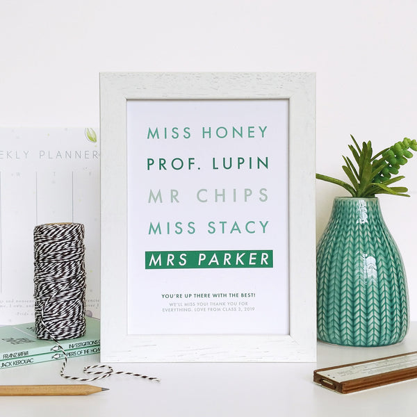 Framed Personalised Teacher Print Gift