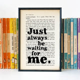"Peter Pan ""Just Always Be Waiting For Me"" Quote - Framed Book Page Print"