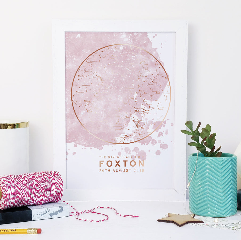 Personalised Pink Blot and Gold Star Map Unique Gift Idea