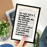 "Pride and Prejudice ""In Vain Have I Struggled"" Mr Darcy Quote - Framed Typographic Book Page Art"