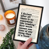"Pride and Prejudice ""I Declare After All There Is No Enjoyment Like Reading"" Book Lover Quote - Framed Book Page Print"