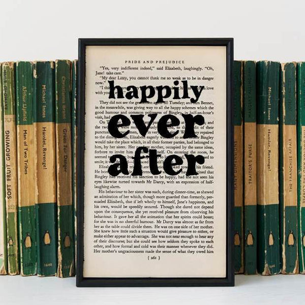 """Happily Ever After"" Romantic Quote - Framed Book Page Print"