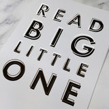 Nursery 'Read Big Little One' Black & Copper Typography Print