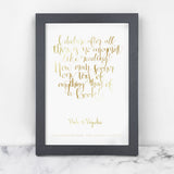 Gold Foil Pride & Prejudice 'Enjoyment Like Reading' Calligraphy Print