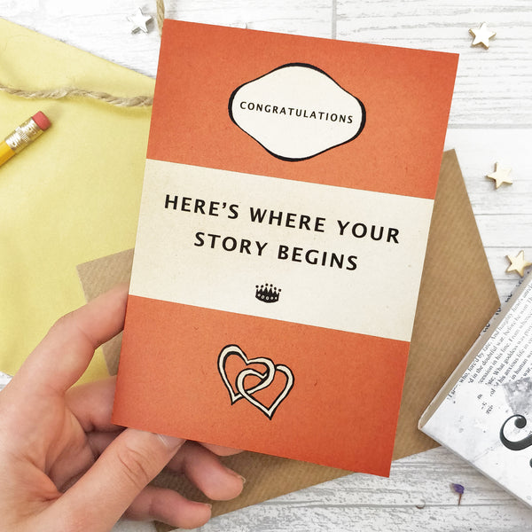 "Wedding Card ""Here's Where Your Story Begins"" Orange Book Cover Card"