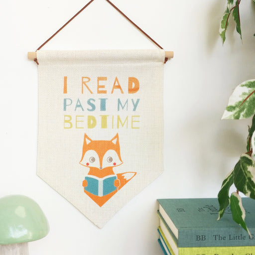 "Scandi Wall Hanging""Read Past My Bedtime"" Children's Pennant"