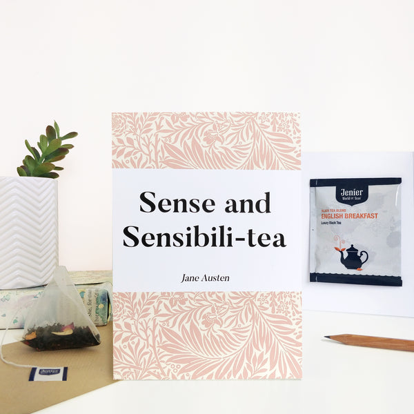 Literary Tea Pun Card With Tea Bag - 'Sense & Sensibili-tea'