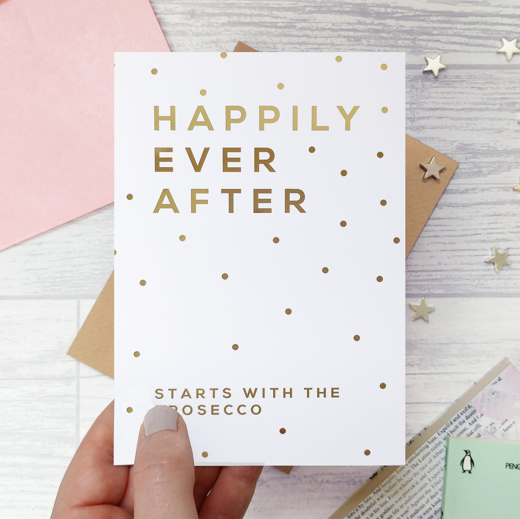 Gold Foil 'Happily Ever After' Funny Wedding Card