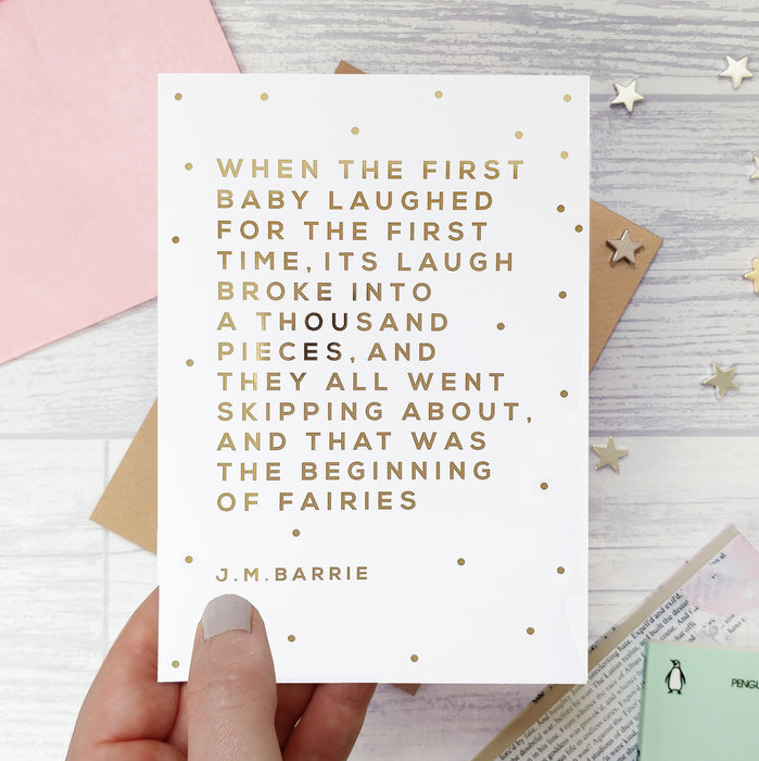 Gold Foil 'First Baby Laughed' New Baby Card