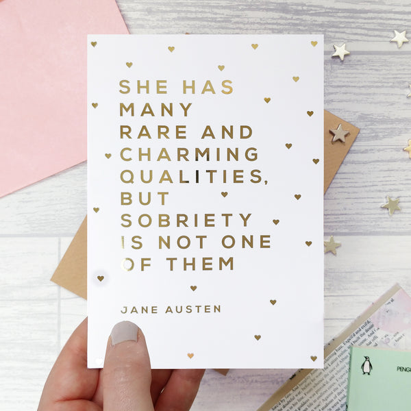 Gold Foil 'Charming Qualities' Funny Best Friend Card