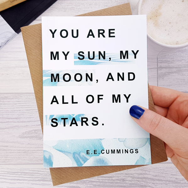 Anniversary Card My Sun Moon EE Cummings Quote
