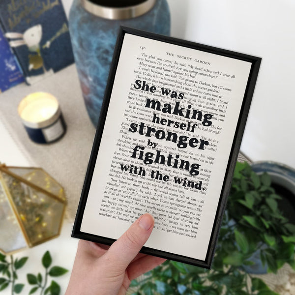 "Feminism Quotes ""Fighting With The Wind"" Framed Book Page Art"