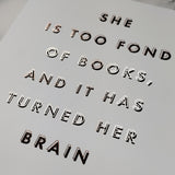 Book Lover 'Fond Of Books' Black & Copper Typography Print