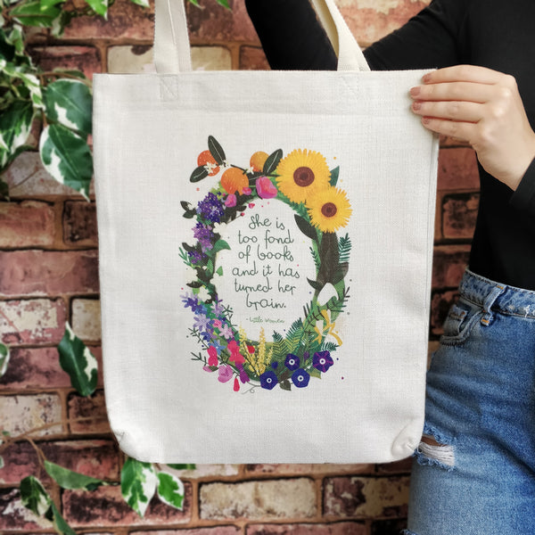 "Book Lover ""She is too fond of books"" Cotton Tote Bag"