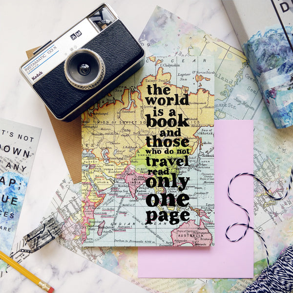 "Travel Journal - ""The World Is A Book..."" Inspirational Quote With Map Design"