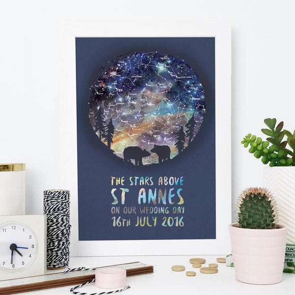 Bear Couple Personalised Map of the Stars Gift