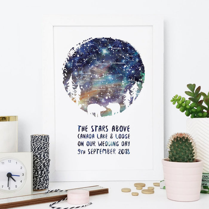 Romantic Personalised Star Map Print - Silhouette Designs