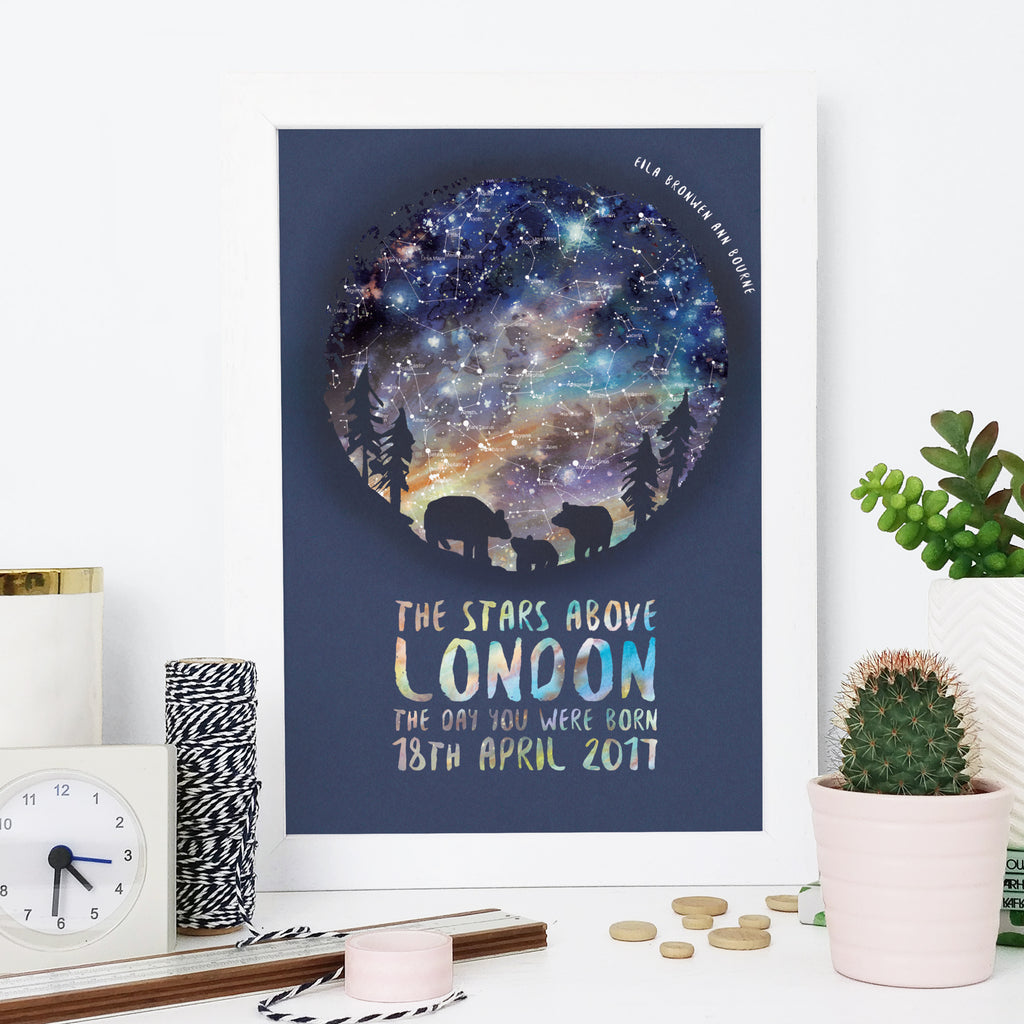 Bear and Cub Personalised Map of the Stars Gift