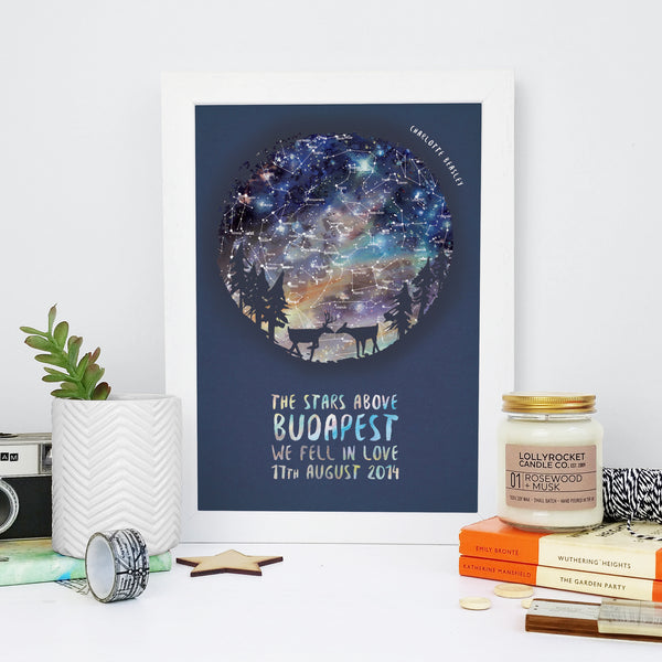 Deer Personalised Map of the Stars Romantic