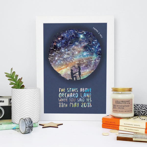 Romantic Map of the Stars Print Couple Engagement