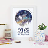 Owl Couple - Romantic Personalised Star Chart Print