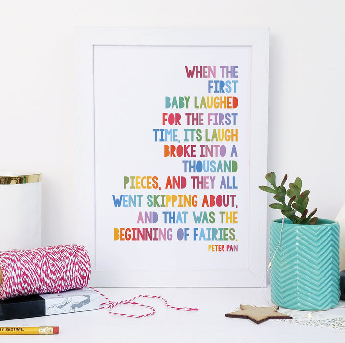 """... That Was The Beginning Of Fairies"" Rainbow Framed Peter Pan Quote Print Bookishly"