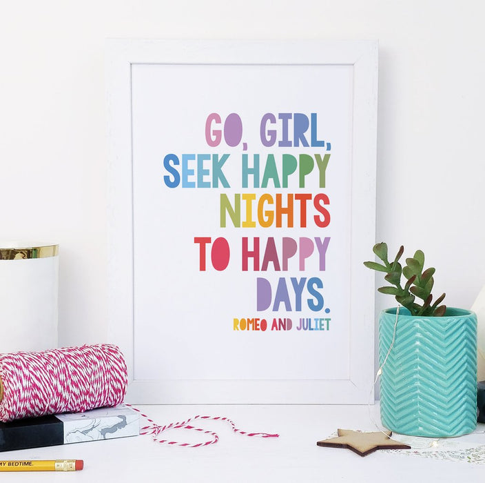 "Children's ""Go, Girl, Seek Happy Nights To Happy Days"" Scandinavian Print"