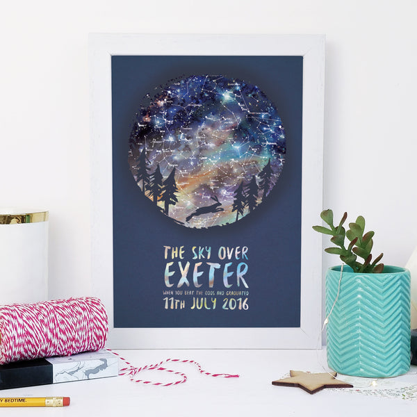Personalised Map of the Stars Leaping Hare Romantic Gifts Animal Lover