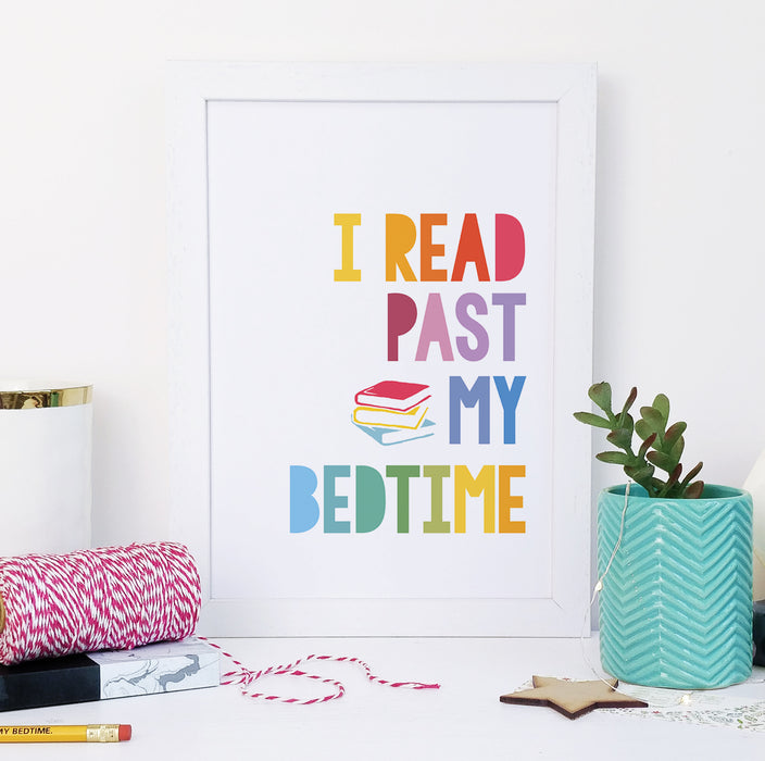 """I read past my bedtime."" Rainbow Book Lover Framed Print"